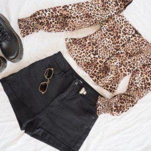 Long Sleeve Leopard Animal Print Button Blouse